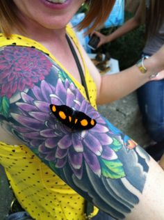 Tattoo flower, confused butterfly