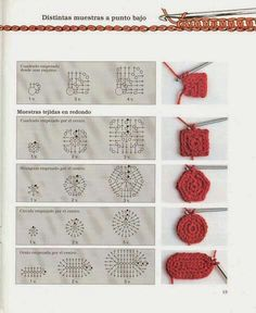 Photo from album Iniciacion al ganchillo libro 01 on Yandex.Disk how to crochet differen Photo from album Iniciacion al ganchillo libro 01 on Yandex.Disk how to crochet different figures Crochet Motifs, Crochet Diagram, Crochet Stitches Patterns, Crochet Chart, Crochet Squares, Crochet Basics, Bead Crochet, Knitting Patterns, Granny Squares