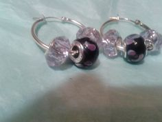 Sterling Silver Hoop Earrings with Milano Hand blown glass bead and acrylic beads by MamaGotRocksJewelry on Etsy