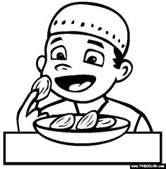 Free Ramadan Coloring Pages. Color in this picture of Eating Dates and others with our library of online coloring pages. Ramadan Activities, Book Activities, Colouring Pages, Coloring Sheets, Free Online Coloring, Activity Sheets, Online Dating, Education