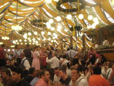 Oktoberfest - love the streamers and lights!