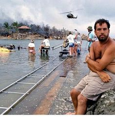 Francis Ford Coppola on the set of Apocalypse Now via Behind the Scenes on Twitter