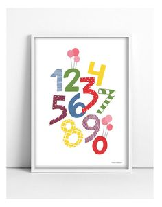 Children Illustration - 123 number poster Poster Size: 21 x 30 cm x inches 30 x 42 cm x inches Pick your size at the Abc Poster, New Love, Children, Kids, Playing Cards, A3, Handmade Gifts, Lush, Illustration