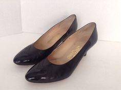 Women's Salvatore Ferragamo Black Leather Classic Pumps Size 11B Made In Italy #SalvatoreFerragamo #PumpsClassics