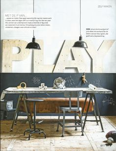 Industrial interior by interior design magazine VTWonen. Vintage lamps, metal boxes and gym horse by Brut Amsterdam. Interior Design Magazine, Magazine Design, Amsterdam, Vintage Lamps, Metal Box, My Room, Boxes, Dining Table, Industrial