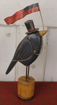BHS-BBF - NEW!<br> Bluebird with Top Hat and Flag