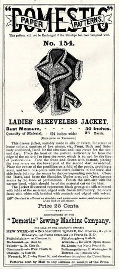 1871 sleeveless jacket pattern ad, sad there is no pattern with this.