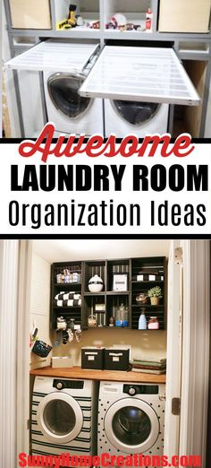 Awesome laundry room organization ideas to clear the clutter and get your small laundry room organized. These storage solutions include shelves, usin… – Laundry Room Laundry Room Organization, Laundry Storage, Room Organization Diy, Laundry Organization Small, Laundry Room Organization Diy, Storage And Organization, Room Storage Diy, Small Laundry Room Organization, Room Organization