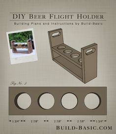 Build a DIY Beer Flight Holder – Building Plans by Diy Wood Projects, Wood Crafts, Woodworking Projects, Woodworking Plans, Make Beer At Home, Palette Deco, Mason Jar Gifts, Wine And Beer, Craft Beer