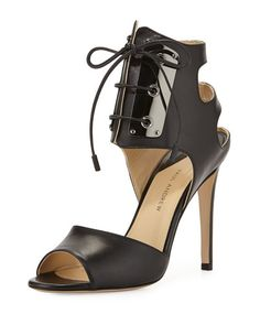 X2QBM Paul Andrew Leather Lace-Front Sandal, Black