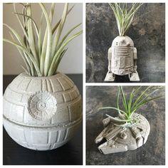 Star Wars Gift Pack - Set of 3 Concrete Planters - Millennium Falcon - Death Star - R2D2