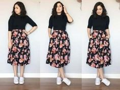 Love the floral skirt! Modest Outfits, Skirt Outfits, Modest Fashion, Skirt Fashion, Stylish Outfits, Cool Outfits, Fashion Dresses, Trendy Dresses, Casual Dresses