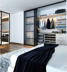 Modern Reach In Closet System With Sliding Doors