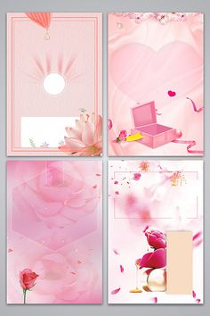 Pink lined romantic cosmetics poster background image#pikbest#backgrounds