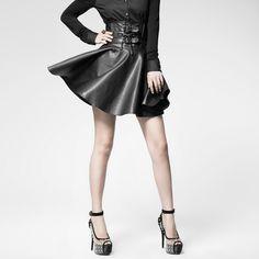 Punk rave Fashion Summer Rock Heavey Metal Goth Cosplay Leather Womens Sexy Mini Skirt XS-XL