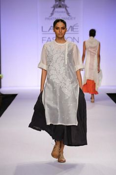 PRAMA by Pratima Pandey - sheer white kurt a and crinkled skirt