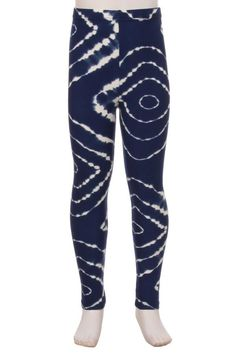 Child/Girls Leggings DIAMONDS TIE-DYE, Blue and White. S/L – MomMe and More