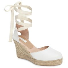 An espadrille-wrapped wedge adds leg-lengthening height to a chic, warm-weather sandal crafted from smooth, supple leather White Wedge Sandals, White Espadrilles, White Wedges, Leather Espadrilles, White Heels, Leather Wedge Sandals, Espadrille Sandals, Shoes Sandals, White Leather Shoes