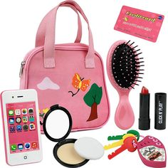 Click N' Play 8 Piece Girl's Pretend Play Purse. Includes: Smartphone, car keys, credit card, lipstick, etc. Little Girl Toys, Baby Girl Toys, Toys For Girls, Baby Dolls, Little Girl Gifts, Kids Girls, Disney Princess Toys, Zapf Creation, Smartphone