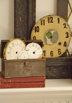 frames/old clock and watch faces/old metal document boxes