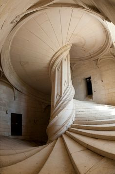 The staircase tributed to Leonardo DaVinci, constructed in 1520, at the Chateau de La Rochefoucauld, Charente, France ᘡղbᘠ