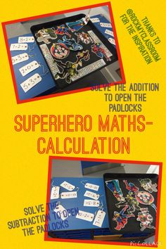 Addition and Subtraction using superheroes theme. Solve the calculation to free the superhero (missamyp)