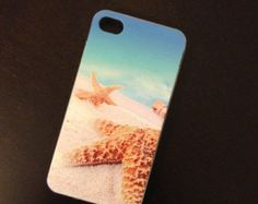 Sea Beach Sand Starfish Ocean Print Cell Phone Cover for Iphone 4