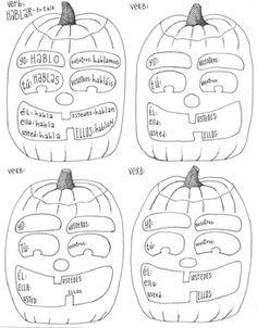 Spanish verb conjugation worksheet ~verb poster ~practice ~Halloween ~No Prep Spanish Grammar, Spanish Teacher, Spanish Classroom, Teaching Spanish, Spanish Language, Middle School Spanish, Elementary Spanish, How To Speak Spanish, Spanish 1