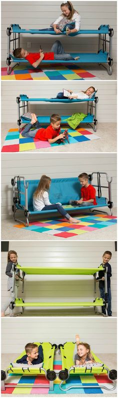 From slumber parties to summer camp, the Kid-O-Bunk delivers easy setup and mattress-free comfort... in cool colors kids will love. #affiliate