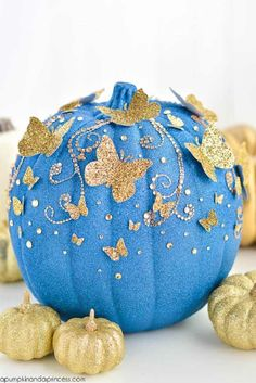 DIY Cinderella Butterfly Painted Pumpkin | Breathtaking Painted Pumpkins You Can Make Yourself This Halloween