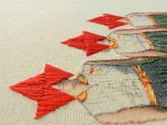 hand made collages, printed and embroidered on canvas by Hagar  van Heummen