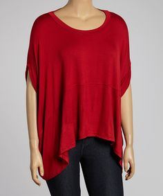 Look what I found on #zulily! Red Dolman Sidetail Top - Plus by Poliana Plus #zulilyfinds