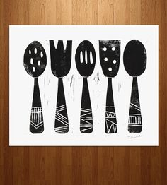 Utensils Linocut Art Print | Art Prints | Printwork