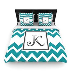 "KESS Original ""Monogram Chevron Teal"" Fleece Duvet Cover 
