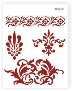 Flourish designed template stencil.