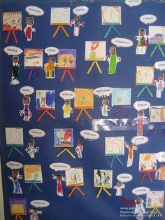 Παρουσιολόγιο τάξης : Οι μεγάλοι ζωγράφοι Art For Kids, Preschool, Education, Bulletin Boards, Fall, Inspiration, Early Education, Activities, Creativity