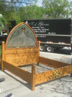 Oak King Bed with Stained Glass Headboard.