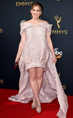 Anna Chlumsky 2016 Emmys... Interesting, imagine the fabric in bridal tone. Pick 1-2 details to recreate for your special bridal look.