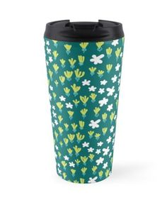 A quirky floral pattern creating a vibrant and lively sense of a blooming spring field or meadow. Tiny white flowers glow on the dark background. A feminine pattern with playful girly style. Tiny White Flowers, Dark Backgrounds, Travel Mug, The Darkest, Glow, Vibrant, Girly, Feminine, Phone Cases
