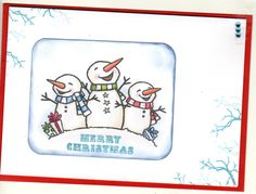 Card-io stamp branches around the edge of this snowman christmas card