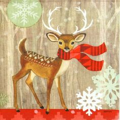 4 Single Table Party Paper Napkins for Decoupage Decopatch Craft Deer with Scarf