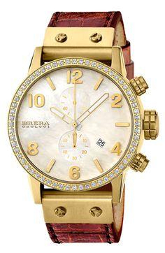 Brera 'Isabella' Diamond Chronograph Alligator Strap Watch, 42mm available at #Nordstrom