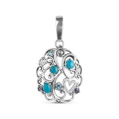 Sterling Silver Turquoise Multi Gemstone Pendant Enhancer >>> For more information, visit image link.