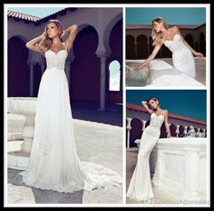 Wholesale Mermaid Wedding Dresses - Buy Julie Vino 2014 Wedding Dresses Summer Chiffon Spaghetti Strap Sweetheart Lace Applique Beaded Sweep Train White Bridal Gowns Backless, $143.33 | DHgate