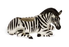 One Kings Lane - Faith Blakeney - Vintage Ceramic Zebra Planter