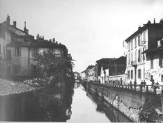 Nostalgica veduta di fine Ottocento del naviglio in via san Gerolamo (ora Carducci).