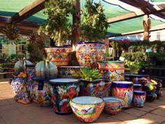 Desert Garden Nursery in Phoenix Mexican Patio, Mexican Garden, Mexican Home Decor, Arte Fashion, Mexican Ceramics, Talavera Pottery, Garden Nursery, Yard Art, Vases