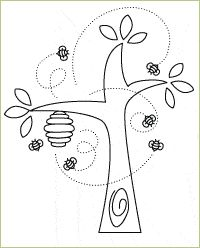 Bee Tree Embroidery Pattern. would be good for all kinds of craft stuff...