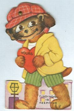 Vintage Valentine with Dog in Cap holding a heart and Movable Eyes