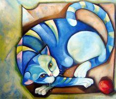 CLARK HULINGS - Burro com manta vermelha Óleo sobre tela - 20 x 25,4  LILIAN ZAMPOL - Gato com bola Mista sobre tela - 60 x 60